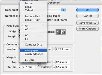 Set Your Own Papersizes in InDesign CS
